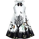 Vestido para niña Blanco Víspera de Todos los Santos Bruja Murciélago Calabaza Disfraz Cabestro 14 años