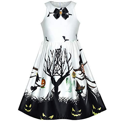 Mädchen Kleid Weiß Halloween Witch Schläger Kürbis Kostüm Halfter Kleiden Gr. ()