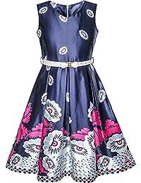 Sunny Fashion Vestido para niña Armada Azul Flor Cinturón Vendimia Fiesta Sol ...