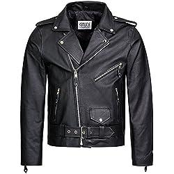 Gaudi-Leathers Chaqueta de Cuero para Hombre Moto o Motocicleta Biker Moto Brando Style S