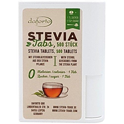 Stevia Plus, Süßstoff (Daforto Stevia Tabs, 500 Stück, 1er Pack (1 x 30 g))