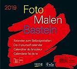 Foto-Malen-Basteln Bastelkalender quer schwarz 2019: Fotokalender zum Selbstgestalten. Do-it-yourself Kalender mit festem Fotokarton. Format: 24 x 21,5 cm -
