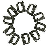 Sharplace 10 Stück Taktische D-Ring ABS-Kunststoff Karabiner für Molle Gurtband Camping und Klettern Rucksack Schlüsselanhänger - Armee Grün