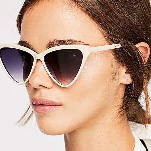 ANDIAOG-Home Europa und die Vereinigten Staaten Dreieck Cat Eye Sonnenbrille Männer und Frauen Persönlichkeitstrend Sonnenbrille Mode Marine Farbe Sonnenbrille (Color : White)