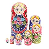 NuoYa005 Beautiful Set of 7 Cutie Nesting Dolls Matryoshka Madness Russian Doll Wooden Wishing Dolls Toy by safeinu
