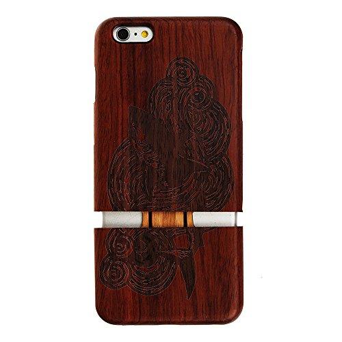 Forepin® Coque en Bois pour iPhone 5S/ 5/ SE Anti Choc Couvert et Housse en Wood Dur dans Motif de Sculpté Requin