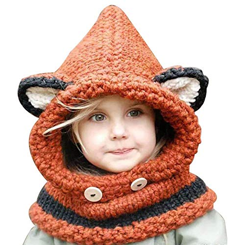 Winter Wolle Gestrickte Hüte Schals Kapuze Mönchskutte Beanie Mützen für Kinder Junge Baby Mädchen Schalmütze Mütze Wolleschal warme Earflap Fox Cap (Orange)