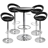 Modern Chic Crescent Bar Stools and Podium Table Set Black (Black Table + Stools)