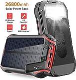 Chargeur Solaire 26800mAh Batterie Externe Portable Power Bank Solaire avec 3 Sortie...