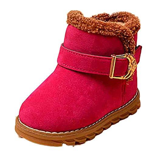 Ouneed® 1 - 5 ans Enfant Fille Boots de Neige Fourrures (24, Noir) Rose vif