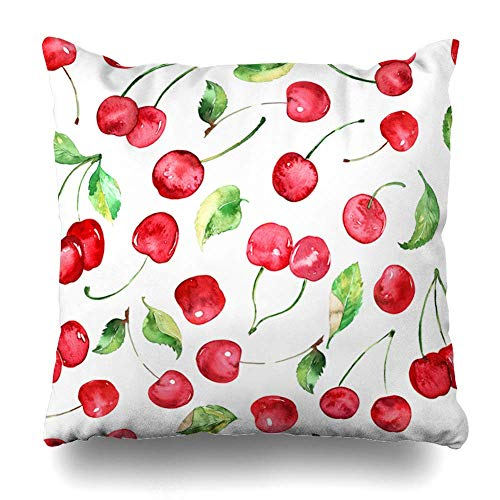 Cherry-stiftung (Monicago Zierkissenbezüge, Throw Pillow Covers, Vitamin Green Pattern Watercolor Cherries Fruit Cherry Tasty Food Summer Berry Branch Bright Home Decor Pillowcase Square Size 18