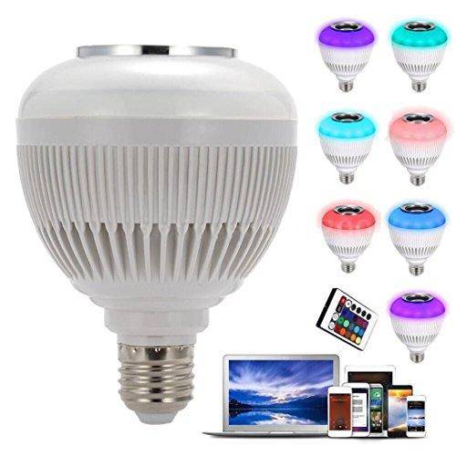 Lampe LED, lampe LED Mamum, Mamum son Haut-parleur sans fil Bluetooth Audio Musique ampoule RGBW lampe LED Blanc