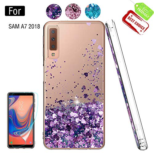 Case for Samsung Galaxy A7 2018 with HD Glass Screen Protector, Girl Woman Glitter Liquid Cute Clear Silicone Shockproof Phone Cover Covers for Samsung Galaxy A7 2018 Purple Silicon Case Protector Cover