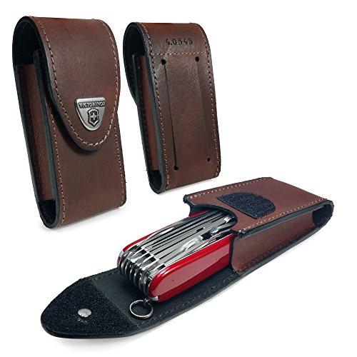 Victorinox Personalisierte Echtes Leder Swiss Army Pen Messer Gürteltasche mit Haken-und-Loop Fastener (5-8 layers) - Braun -