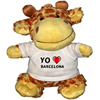 Jirafa de peluche (juguete) con Amo Barcelona en la camiseta (ciudad / asentamiento