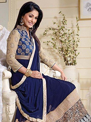 Unique Fashion Station Women's Georgette Semi Stitched Anarkali Dress Material (UFS071215A039_Blue_Free Size)