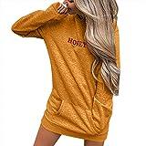 GreatestPAK Damen Langarm Buchstabe gedruckt Volltonfarbe Kapuzenpullover Kleid Buchstabe Patchwork Lässig Lang Sweatershirt, Gelb,S