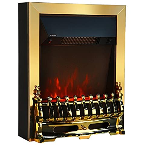 Golden Freestanding Electric Fireplace 1000W/2000W LED Heater with Imitation Black Coal and Flame Only Option