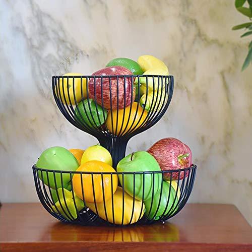 TIDLT Küche Metall Obstkorb, Lagerregal, Gemüseplatte, Countertop Organizer Holder, Home Decoration (Farbe : Black-20 * 27cm) (Countertop Organizer)