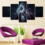 JSBVM Leinwanddruck World of Warcraft Sylvanas Windläufer Bilder 5 Panel Wandmalerei Modern Giclee Kunstwerk für Wohnzimmer Schlafzimmer Zuhause Dekorationen