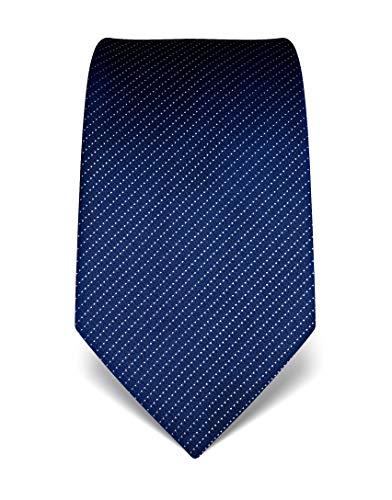 Vincenzo boretti cravatta elegante classica da uomo, 8 cm x 15 cm, di pura seta di alta qualità, idrorepellente e antisporco, motivo a righe blu scuro