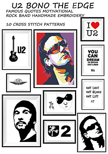 U2 music wall art handmade cross stitch pattern Bono The Edge guitar Famous quotes motivational Silhouette black modern embroidery Rock band Decoration ... make gift for him or her (English Edition) - Rock Band Silhouette