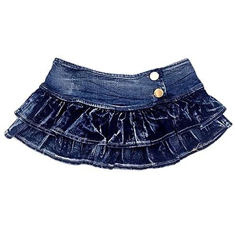 Byjia Women'S Sexy Denim Mini Skirt Low Waist Short Jeans School Skirts Night Club . Deep Blue . M