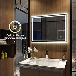 Meykoers Wandspiegel Badezimmerspiegel LED Badspiegel mit Beleuchtung 80x60cm mit Touch Schalter und Beschlagfrei, Lichtspiegel Dimmbar Warmweiß/Kaltweiß/Neutral 3000K-6400K Energieklasse A++
