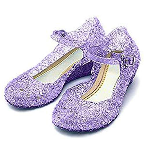 CQDY Mädchen ELSA Schuhe Prinzessin Verkleiden Sich Mädchen Phantasie Prinzessin Schuhe für Halloween Cosplay Party Geburtstag (30 EU, Purple)