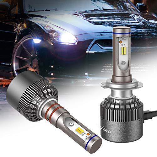 2pcs H7 LED Faro Bombillas para coche Faros Delanteros Kit de Conversion Impermeable IP67, Luz blanca 6500K o luz amarilla 3000K CACAGOO faros antiniebla coche