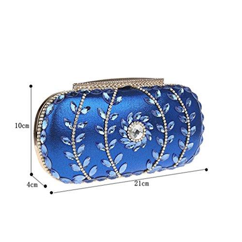 KAXIDY Lusso Brillanti Strass Diamante Sera Borsa Di Nozze Donna Borsa Pochette a Mano (Viola) Blu