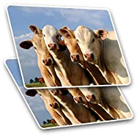 Awesome Rectangle Stickers(Set of 2) 7.5cm - Cows Farm Animal Cattle Cow Fun Decals for Laptops,Tablets,Luggage,Scrap Booking,Fridges,Cool Gift #8249