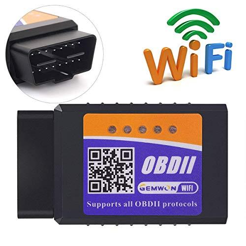 Elm327 W-lan OBDII Scanner, Gemwon OBD2 Wifi Adapter Auto Diagnose Scanner Code Reader Check Engine für Android und IOS(W-lan-Black)
