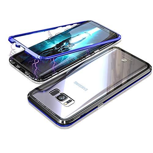 Kompatibel mit Samsung Galaxy S8 Hülle, Jonwelsy Stark Magnetische Adsorption Technologie Metallrahmen, Transparent Gehärtetes Glas Rückseite Handyhülle für Samsung Galaxy S8 (5,8 Zoll) (Blau/Schwarz)