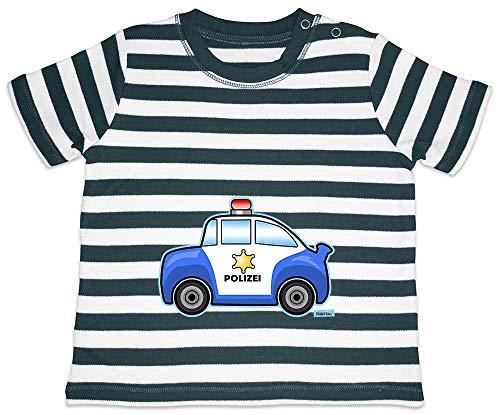 HARIZ Baby T-Shirt Streifen Polizei Auto Bagger Eisenbahn Plus Geschenkkarten Navy Blau/Washed Weiß 18-24 Monate -