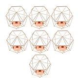 FLAMEER 7pcs 3D Geometrie Hochzeit Kerzenhalter Teelichthalter Teelicht Kerzen Halter, Rose Gold