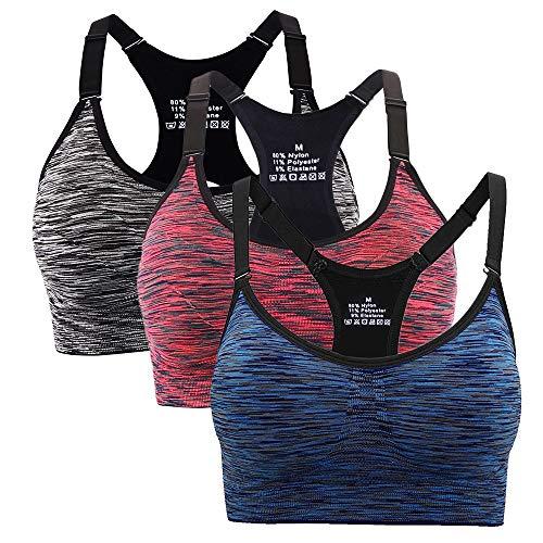 Aibrou reggiseno sportivo da donna, reggiseno sportivo da ginnastica imbottito da corsa da jogging (l, arancione,blu,nero)
