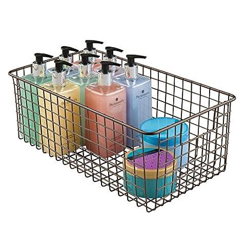 mDesign panier de rangement salle de bains pour produits cosmétiques - pour shampooing, lotion, éponges etc. - rangement maquillage - range-serviette - bronze