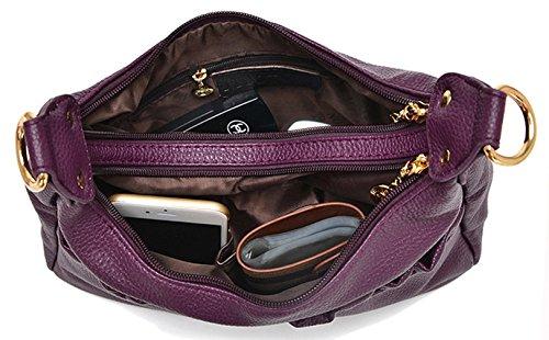 Keshi Leder Niedlich Damen Handtaschen, Hobo-Bags, Schultertaschen, Beutel, Beuteltaschen, Trend-Bags, Velours, Veloursleder, Wildleder, Tasche Lila