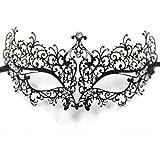 Signstek Laser-Cut Metall venezianischen Maskerade-Maske für Frauen mit Kristallen