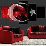 Mddrr Wandbild Canvas Hd Prints Poster Home Decor Bilder Rahmen 5 Stück Flagge Der Türkei Abstract Red Eagle Gemälde Wohnzimmer Wandkunst Wohnzimmer Dekoration