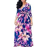 Vestidos Largo de Playa Manga 3/4 con Estampados Flores para Mujer M 1122