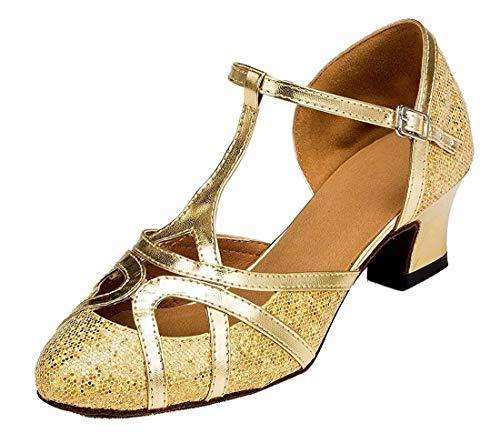 Fashion Damen T-Starp geschlossener Zehenbereich Glitzer Synthetik Abend/Hochzeit Tango Ballroom Modern Latein Tanzschuhe, Glitter Gold-5cm Heel - Größe: 39 1/3 EU