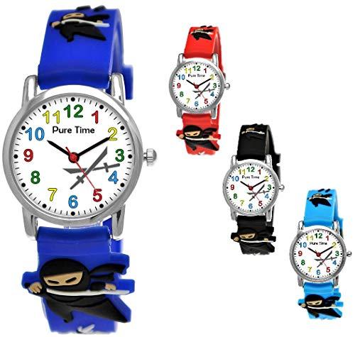 Pure Time® Kinder-Uhr Mädchen-Uhr für Kinder Jungen-Uhr Silikon-Kautschuk Armband-Uhr Uhr mit 3D Ninja Samurai Waffen Motiv Ninjauhr Lern-Uhr Schul-Uhr Sport-Uhr Blau