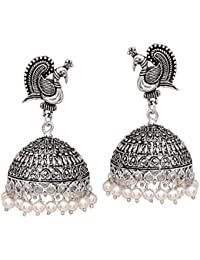 V L IMPEX Silver Tone Metal Jhumka Earrings For Women