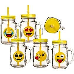 Un vaso taza del vintage taza de la cubierta del patrón emoticono emoj risa al llanto