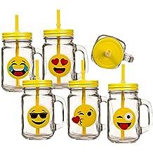 Una taza Vintage Emoji tazón vidrio diseño redondo con tapa pajita ...