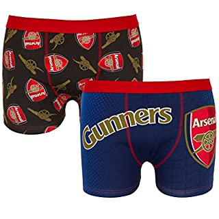 Arsenal FC Official Football Gift 2 PAIR Pack Mens Boxer Shorts Black Small