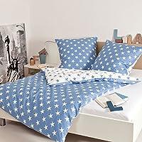 Janine Feinbiber Bettwäsche Davos blau 135 x 200 cm + 80 x 80 cm