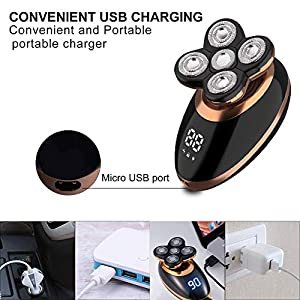 Surker Electric Shavers for Men, 5 in 1 Wet and Dry Electric Razor Bald Head Shaver Hair Clippers Beard Trimmer Nose Hair Trimmer Facial Cleansing Brush Waterproof Rechargeable